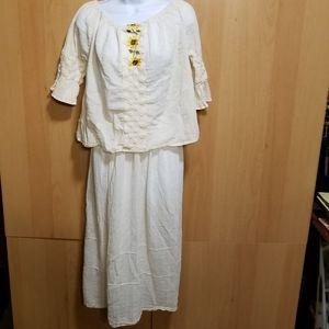 Vintage Gauzy BOHO Hippy 2 Piece Skirt & Blouse